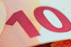 Ten euro note, european currency macro shot. Royalty Free Stock Photography