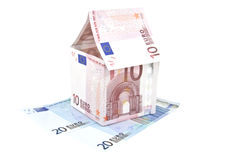 Ten euro note house construction Royalty Free Stock Photo