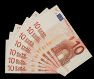 Ten euro notes. Ten euro banknotes on black background