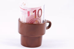 Ten Euro tip the waiter left Royalty Free Stock Images