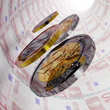 Ten Euro Tunnel. Rolling coins in a money tunnel Royalty Free Stock Image