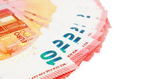 Ten euros notes on display on a white background Stock Images