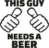 Ten facet potrzebuje piwo z kciukami ilustracja wektor