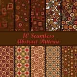 Ten geometrical seamless patterns Stock Photo