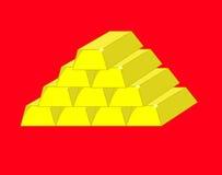 Ten gold bars Royalty Free Stock Photo
