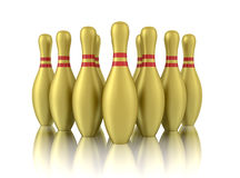 Ten golden bowling pins  on white Royalty Free Stock Images