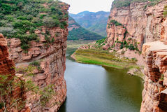 Ten gorge ditch ditch village China no day gorge in Hebei province Xingtai City Wall Road. Wall hanging is China`s world miracle! The towering cliffs of Taihang Royalty Free Stock Photos