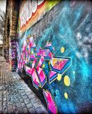 Ten graffiti na ścianie obrazy royalty free