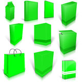 Ten green blank boxes  on white Royalty Free Stock Images