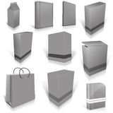 Ten grey blank boxes isolated on white Royalty Free Stock Photo
