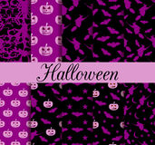 Ten Halloween seamless patterns. Pattern with Lamp Jack, witch with bats. Halloween symbols. Royalty Free Stock Image