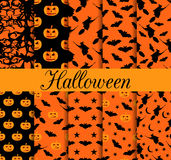 Ten Halloween seamless patterns. Pattern with Lamp Jack, witch with bats. Halloween symbols. Stock Photos