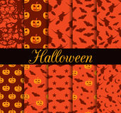 Ten Halloween seamless patterns. Pattern with Lamp Jack, witch with bats. Halloween symbols. For wallpaper, bed linen, tiles, fabrics, backgrounds. Vector Stock Photo