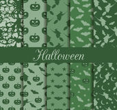 Ten Halloween seamless patterns. Pattern with Lamp Jack, witch with bats. Halloween symbols. Stock Images