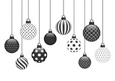 Free Ten Hanging Christmas Baubles With Different Pattern Black White Royalty Free Stock Images - 160644369