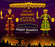 Ten headed Ravana wishing Happy Dussehra festival of India on Sale and Promotion background. In vector Royalty Free Stock Image