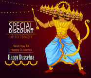 Ten headed Ravana wishing Happy Dussehra festival of India on Sale and Promotion background. In vector Royalty Free Stock Photo