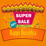 Ten headed Ravana wishing Happy Dussehra festival of India on Sale and Promotion background. In vector Stock Images