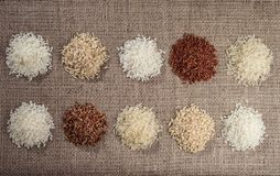 Ten heaps of rice of different varieties on the background of sackcloth stock image