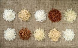 Ten heaps of rice of different varieties royalty free stock image