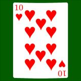 Ten hearts. Card suit icon , playing cards symbols vector illustration