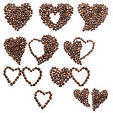 Ten of hearts from coffee beans Stock Photography