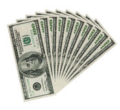 Ten hundreds dollar bank notes, clipping patch Royalty Free Stock Image
