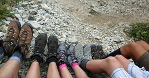 Free Ten Legs Of The Five-person Family While Resting After The Hike Stock Image - 139542001