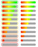 Ten level star rating system sets. Colourful ten level star rating system sets Royalty Free Stock Photos