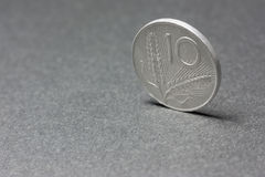 Ten Lira coin from Italy. The Lira was the currency of Italy prior to the advent of the Euro which was adopted across mainland Europe between 2001 and 2002 Stock Photography