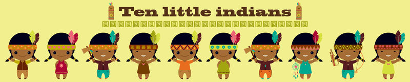 Ten little indians. Nursery rhymes song illustration Stock Images