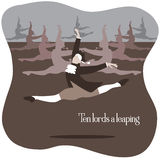 Ten lords a leaping vector illustration. Ten lords a leaping Royalty Free Stock Image