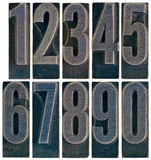 Ten metal type numbers isolated Royalty Free Stock Photos