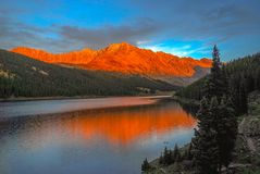 Ten Mile Range. Alpenglow on the mountains of Colorado in Fall royalty free stock images