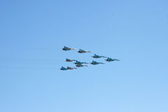 Ten military fighters Stock Photography