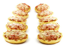 Ten mini pizza Stock Photo