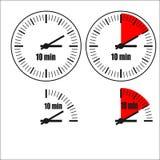 Ten Minutes Clock on white background. Four options Stock Illustration