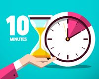 Ten 10 Minutes Counter Clock and Hourglass Icon. Ten 10 Minutes Counter Clock and Hourglass Vector Flat Design Icon vector illustration