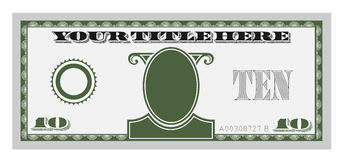 Ten money bill. To be editable