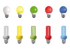 Ten multi-colored lamps Royalty Free Stock Images