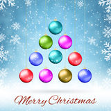 Ten multicolored Christmas balls Royalty Free Stock Image