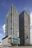 Ten Museum Park and The Marquis. MIAMI - JULY 15: Stock image of the Marquis and Tem Museum Park condominiums side by side on Biscayne Boulevard at Downtown Stock Photo