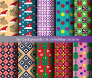 Ten nature backgrounds patterns  Royalty Free Stock Images