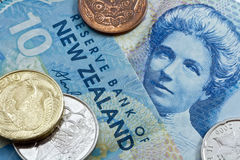 Ten new zealand dollar with coins Royalty Free Stock Images