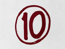 Ten Number. Number 10, print on a Wall, with Red color Royalty Free Stock Photos