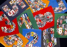 Ten numbers made from numbers cutting from magazines on black ba Stock Photography