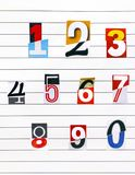 Ten numbers made from half numbers cutting from magazines on lin. Ed paper. Close-up Royalty Free Stock Photography