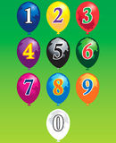 Ten numbers over balloons. Ten arabic numbers over balloons Royalty Free Illustration