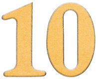 10, ten, numeral of wood combined with yellow insert, isolated o Royalty Free Stock Image