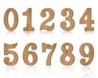 Ten numerals wooden from zero to nine. Vector illustration Royalty Free Illustration